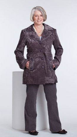 Taupe Chenille Jacket with Light Grey Frill Cardigan and Taupe zip detail pants